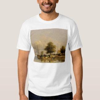 Johan Weissenbruch- Townsfolk on a quay T-shirt