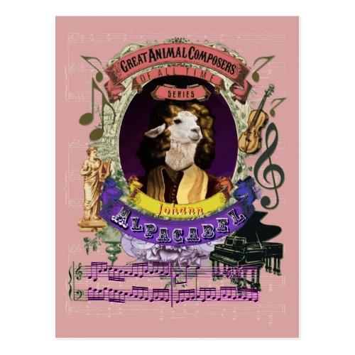 Johann Alpacabel Alpaca Animal Composer Pachelbel Postcard