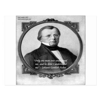 """Johann Fichte """"Misunderstood""""  Quote Postcards"""