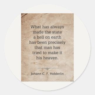 Johann Holderlin Classic Round Sticker