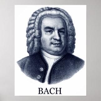 Johann Sebastian Bach, azul Posters