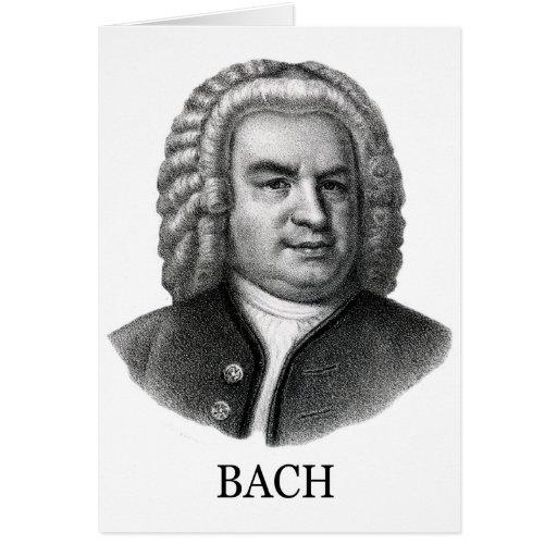 Johann Sebastian Bach, black Greeting Card