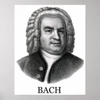 Johann Sebastian Bach, black Poster