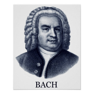 Johann Sebastian Bach, blue Poster