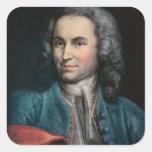 Johann Sebastian Bach c.1715 Calcomanias Cuadradas