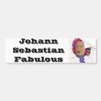 Johann Sebastian Bach in Vibrant Color Wig Pop Art Bumper Sticker