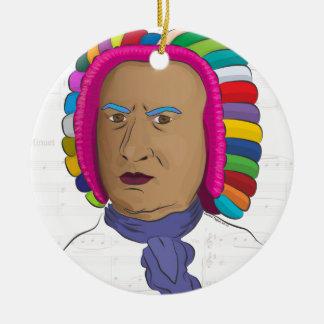 Johann Sebastian Bach in Vibrant Color Wig Pop Art Ceramic Ornament