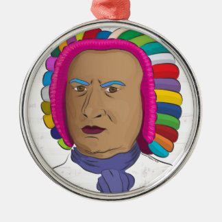 Johann Sebastian Bach in Vibrant Color Wig Pop Art Metal Ornament