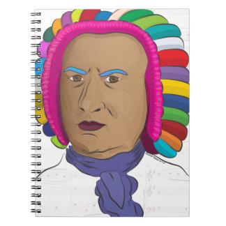 Johann Sebastian Bach in Vibrant Color Wig Pop Art Notebook