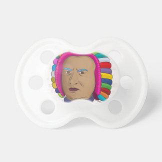 Johann Sebastian Bach in Vibrant Color Wig Pop Art Pacifier