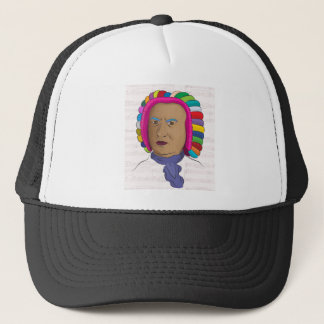Johann Sebastian Bach in Vibrant Color Wig Pop Art Trucker Hat
