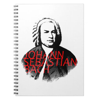 Johann Sebastian Bach portrait and red letters Notebook