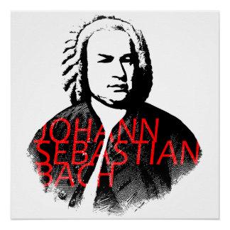 Johann Sebastian Bach portrait and red letters Poster