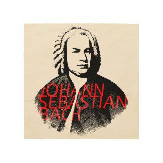 Johann Sebastian Bach portrait and red letters Wood Print