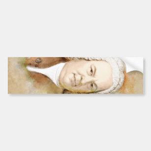 Johann Sebastian Bach portrait in beige Bumper Sticker