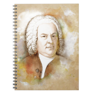 Johann Sebastian Bach portrait in beige Notebook