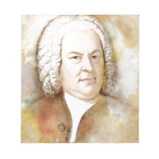 Johann Sebastian Bach portrait in beige Notepad