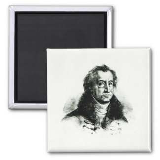 Johann Wolfgang Goethe  engraved by Delacroix 2 Inch Square Magnet