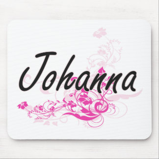 Johanna Artistic Name Design with Flowers Mouse Pad