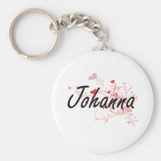 Johanna Artistic Name Design with Hearts Basic Round Button Keychain