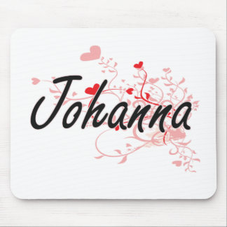 Johanna Artistic Name Design with Hearts Mouse Pad