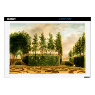 "Johannes Janson A Formal Garden Vintage Painting 17"" Laptop Decal"