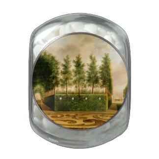 Johannes Janson A Formal Garden Vintage Painting Glass Candy Jar