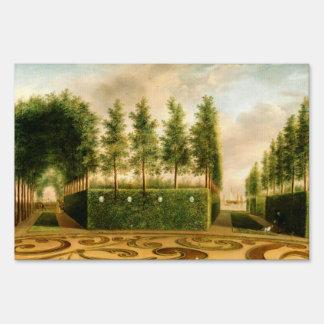 Johannes Janson A Formal Garden Vintage Painting Sign