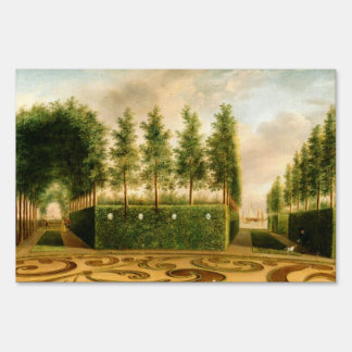 Johannes Janson A Formal Garden Vintage Painting Yard Signs