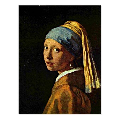 Johannes vermeer art girl with a pearl earring postcard for Johannes vermeer girl with a pearl earring