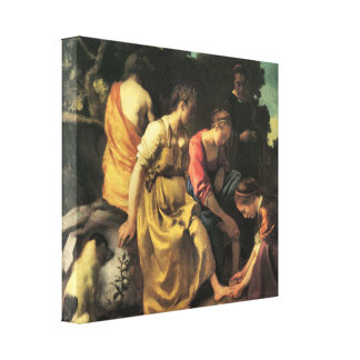 Johannes Vermeer - Diana and her nymphs Stretched Canvas Print