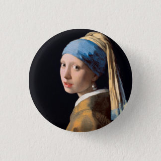 JOHANNES VERMEER - Girl with a pearl earring 1665 Button