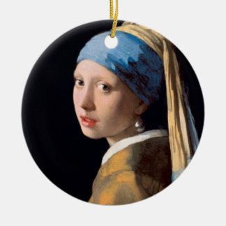 JOHANNES VERMEER - Girl with a pearl earring 1665 Ceramic Ornament