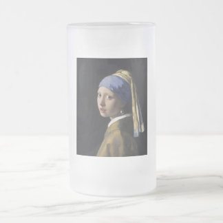 Johannes Vermeer - Girl with a Pearl Earring 16 Oz Frosted Glass Beer Mug