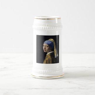 Johannes Vermeer - Girl with a Pearl Earring 18 Oz Beer Stein