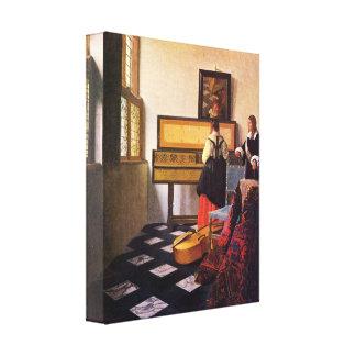 Johannes Vermeer - The music lesson Canvas Print