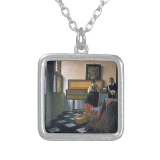 Johannes Vermeer - The Music Lesson Silver Plated Necklace