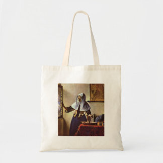 Johannes Vermeer - Young woman with a water jug at Tote Bags