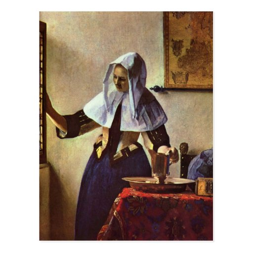 Johannes Vermeer - Young woman with a water jug at Postcard