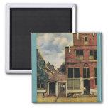 Johannes Vermeer's Street in Delft (circa 1660) Magnets
