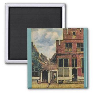 Johannes Vermeer's Street in Delft (circa 1660) Magnet