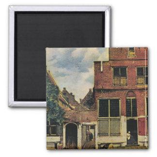 Johannes Vermeer's Street in Delft (circa 1660) 2 Inch Square Magnet