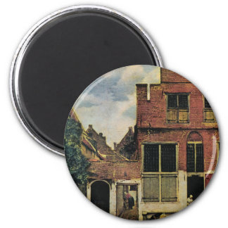 Johannes Vermeer's Street in Delft (circa 1660) 2 Inch Round Magnet