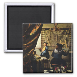 Johannes Vermeer's The Art of Painting circa 1668 2 Inch Square Magnet
