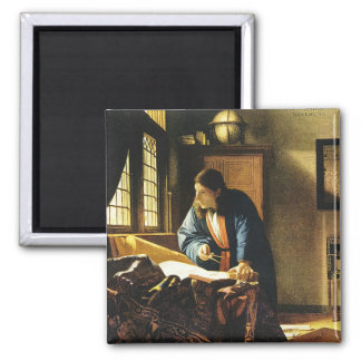 Johannes Vermeer's The Geographer (circa 1669) 2 Inch Square Magnet