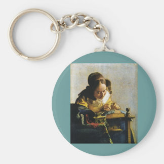 Johannes Vermeer's The Lacemaker (circa 1670) Keychain
