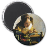 Johannes Vermeer's The Lacemaker (circa 1670) Magnets