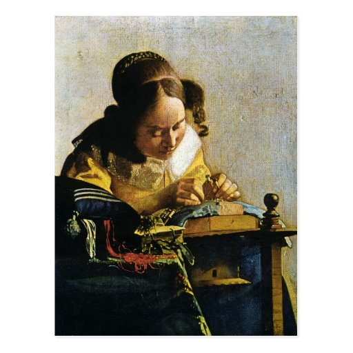 Johannes Vermeer's The Lacemaker (circa 1670) Postcard