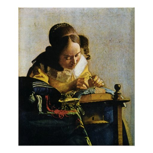 Johannes Vermeer's The Lacemaker (circa 1670) Print