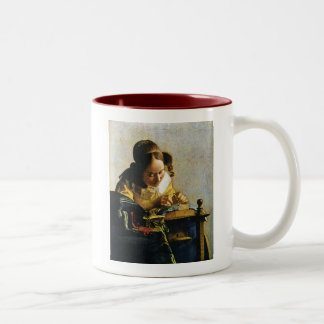 Johannes Vermeer's The Lacemaker (circa 1670) Two-Tone Coffee Mug